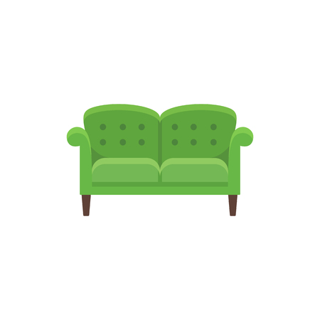 Classical english sofa. Double settee. Vector illustration. Flat icon of green loveseat. Element of traditional home & office furniture. Front view.