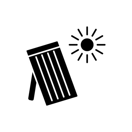 Black & white vector illustration of solar thermal panel. House heating system. Flat icon. Isolated object on white background.