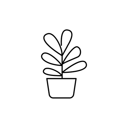 Black & white vector illustration of plant with leaves in pot. Decorative home plant in container. Potted houseplant for office. Isolated object on white background.