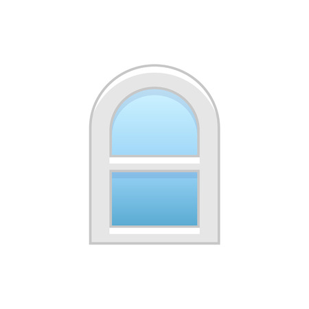 Vector illustration of arc vinyl single-hung sash window. Flat icon of traditional aluminum arched window with sliding panels. Isolated object on white background.