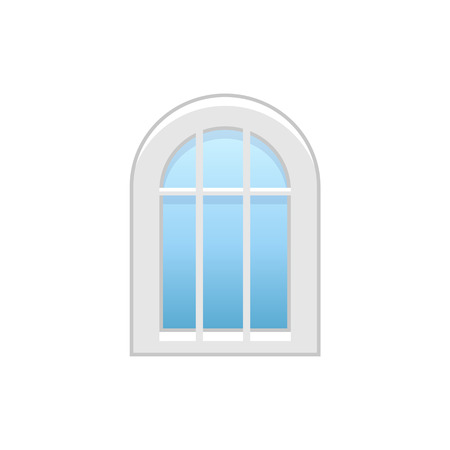 Vector illustration of arc vinyl casement window. Flat icon of traditional aluminum arched window with decorative bars. Isolated object on white background.