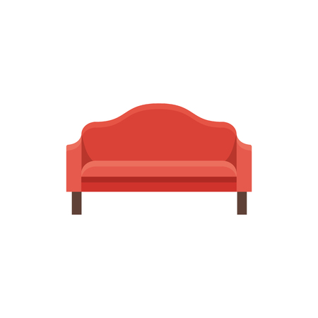 Red sofa. Vector illustration. Flat icon of settee. Element of modern home & office furniture. Front view.