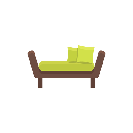 Green daybed with pillows. Comfortable sofa. Vector illustration. Flat icon of settee. Element of modern home & office furniture. Front view.