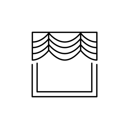 Vector illustration of fabric window curtain with drapery. Line icon of murphy shade. Isolated object on white background