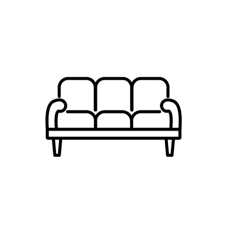 Black & white vector illustration of 3 seaters sofa. Line icon of settee. Modern home & office furniture. Isolated object on white background
