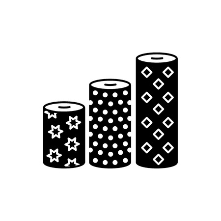 Black & white vector illustration of fabric assortments. Flat icon of textile rolls with different patterns for quilting & patchwork. Sewing material. Isolated object on white background.