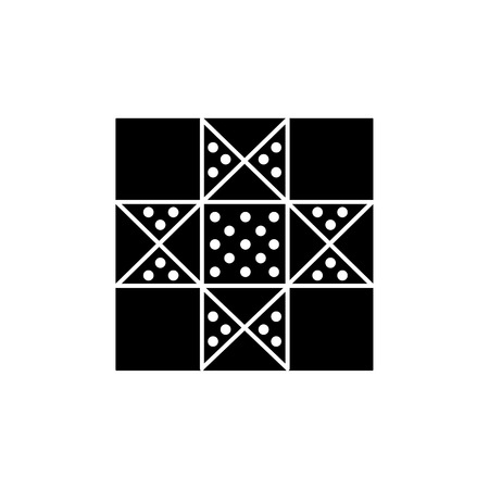Black & white vector illustration of lone star quilt pattern. Flat icon of quilting & patchwork geometric design template. Isolated object on white background.