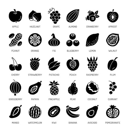Fruits, berries & nuts. Vegan & vegetarian food. Healthy eating & loss weight diet ingredients. Vector flat icon collection. Isolated objects on white background.