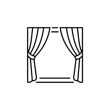 Vector illustration of fabric curtain with drapery. Line icon of traditional window blind. Isolated object on white background Ilustrace