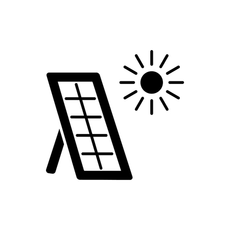 Black & white vector illustration of solar thermal panel. House heating system. Flat icon isolated on white background.