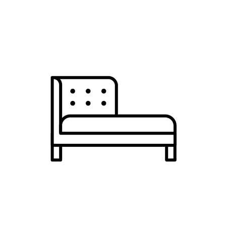 Black & white vector illustration of chaise lounge sofa. Line icon of settee. Modern home furniture. Isolated object on white background