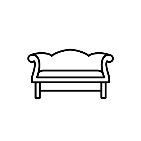 Black & white vector illustration of camelback sofa. Line icon of settee. Vintage home & office furniture. Isolated object on white background