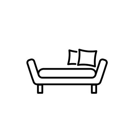 Illustration vectorielle noir et blanc de lit de repos avec oreillers. Canapé confortable. Icône de ligne de canapé. Meubles modernes pour la maison et le bureau. Objet isolé sur fond blanc Vecteurs