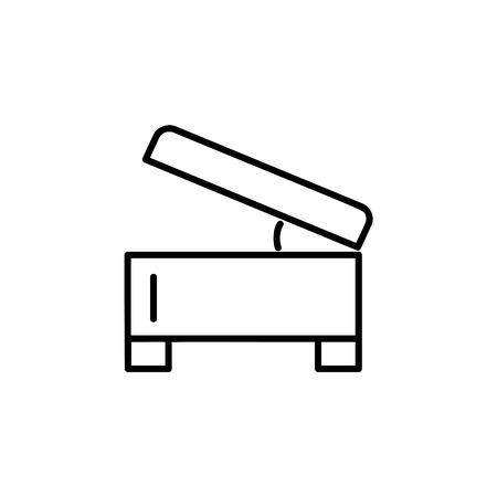 Black & white vector illustration of square storage ottoman, pouf. Line icon of accent stool or chair. Living room, bedroom & patio furniture. Isolated object on white background.