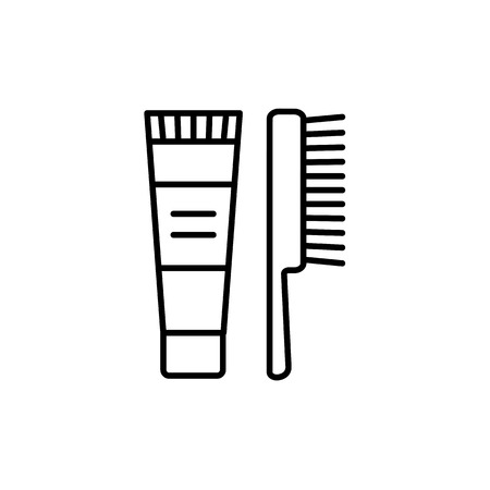 Black & white vector illustration of shoe cream or polish tube with brush for leather footwear. Line icon of shoe care product to restore color, shine. Isolated object on white background.