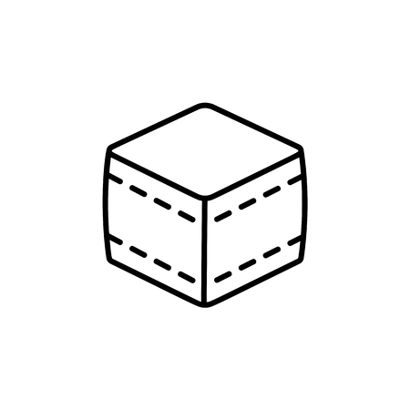 Black & white vector illustration of cube fabric ottoman, pouf. Line icon of accent stool or chair. Living room, bedroom & patio furniture. Isolated object on white background.