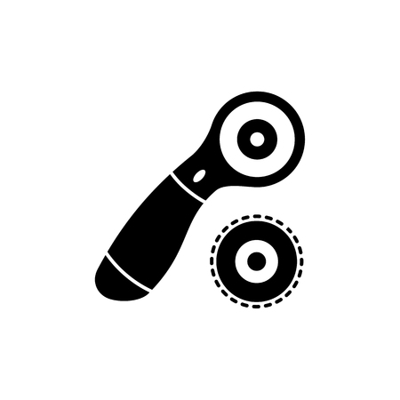 Black & white vector illustration of rotary cutter & blade. Flat icon of quilting instrument. Patchwork tool for quilters to cut fabric. Isolated object on white background.