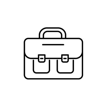 Black & white vector illustration of briefcase with 2 pockets. Line icon of bag for lawyers & business people to carry papers, briefs. Trendy leather handbag. Isolated object on white background.