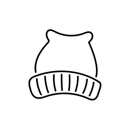 Black & white vector illustration of wool knitted hat. Line icon of textile winter cap. Accessory for men or women to protect head from cold weather. Isolated object on white background.