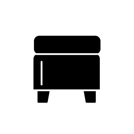 Black & white vector illustration of square storage ottoman, pouf. Flat icon of accent stool or chair. Living room, bedroom & patio furniture. Isolated object on white background. Иллюстрация