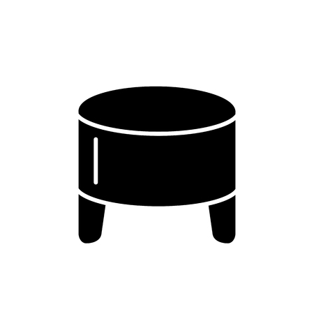 Black & white vector illustration of round leather ottoman, pouf. Flat icon of accent stool or chair. Modern upholstered seat. Living room, bedroom & patio furniture. Isolated object on white background. Vector Illustration