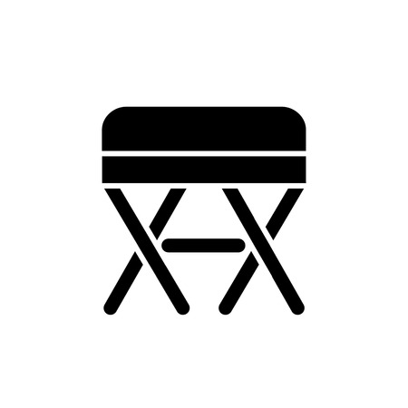 Black & white vector illustration of square ottoman, pouf. Flat icon of accent stool or chair. Living room, bedroom & patio furniture. Isolated object on white background.