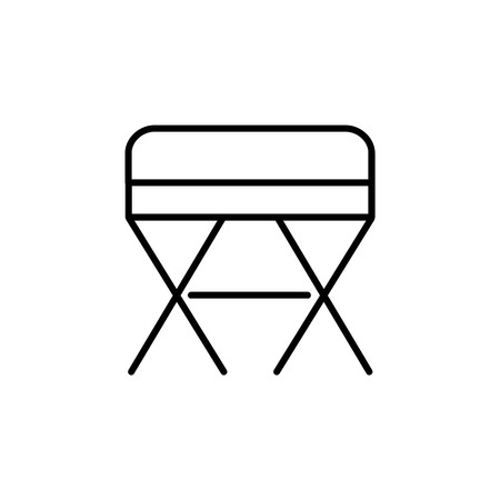 Black & white vector illustration of square ottoman, pouf. Line icon of accent stool or chair. Living room, bedroom & patio furniture. Isolated object on white background.