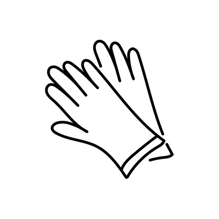 Black & white vector illustration of pair of leather gloves. Line icon of modern accessory for men or women to protect hands from cold weather. Isolated object on white background. Illustration