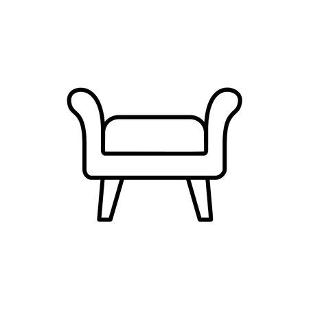 Illustrazione vettoriale in bianco e nero di pouf in tessuto, pouf. Icona della linea di sgabello o sedia d'accento. Soggiorno, camera da letto e mobili da giardino. Oggetto isolato su sfondo bianco.