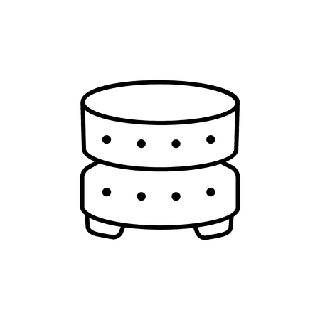 Black & white vector illustration of round leather ottoman, pouf. Line icon of accent coffee table. Modern upholstered seat. Living room, bedroom & patio furniture. Isolated object on white background. Vettoriali