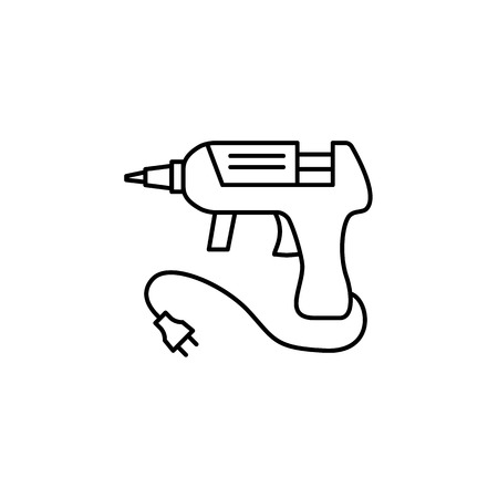 Black & white vector illustration of hot glue gun. Line icon of melt adhesive equipment for repair & diy projects. Isolated object on white background.