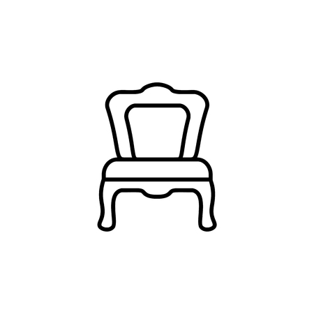 Black & white vector illustration of dining chair. Line icon of modern seat. Upholstery furniture for kitchen & dining room. Isolated object on white background Illustration