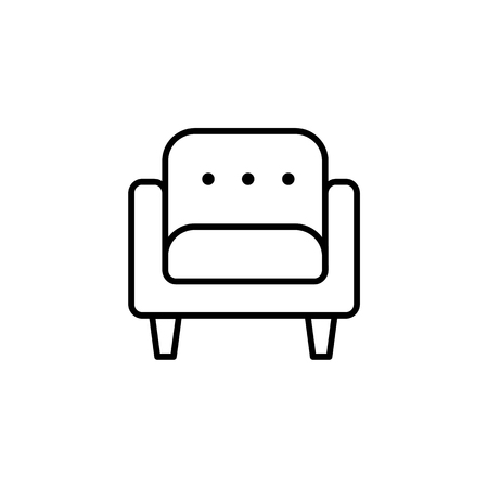 Black & white vector illustration of comfortable soft armchair. Line icon of arm chair seat. Upholstery furniture for living room & bedroom. Isolated object on white background