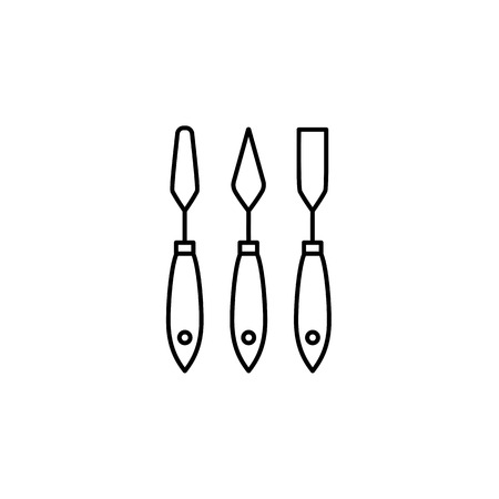 Black & white vector illustration of paper spatula set. Line icon of hand tools for craft, scrapbook & diy projects. Isolated objects on white background