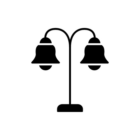 Black & white vector illustration of two bulb table lamp. Flat icon of vintage desktop light fixture. Home & office illumination. Isolated object on white background