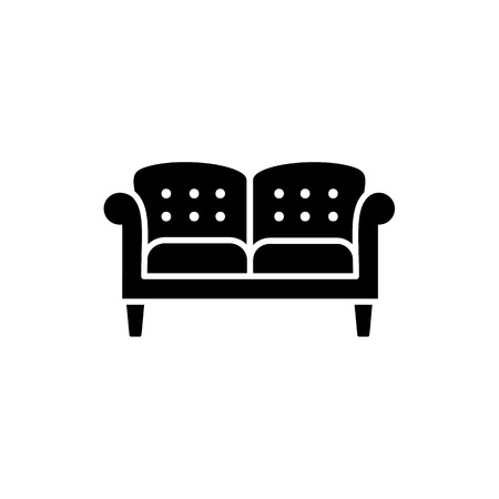 Black & white vector illustration of english double sofa. Flat icon of leather settee. Modern home & office furniture. Isolated object on white background Illustration
