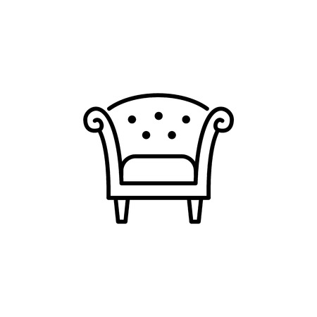 Black & white vector illustration of retro wooden armchair with high back. Line icon of arm chair seat. Upholstery furniture for living room & bedroom. Isolated object on white background