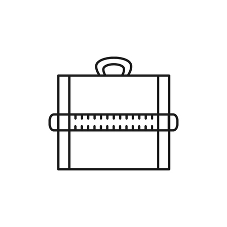 Black & white vector illustration of portable drawing board with ruler. Line icon of drafting table for architect, engineer, draftsman. Technical & mechanical drawing tool. Isolated object on white background