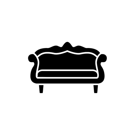 Black & white vector illustration of camelback sofa. Flat icon of settee. Vintage home & office furniture. Isolated object on white background