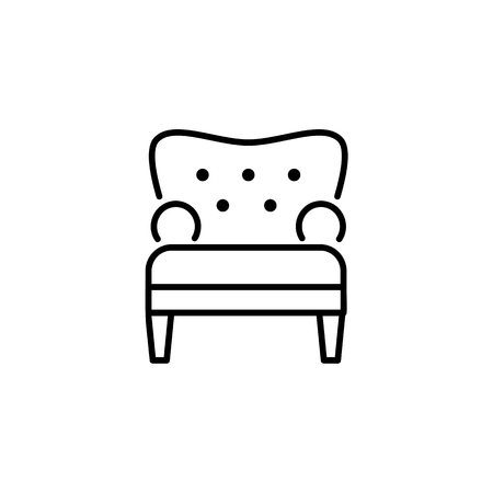 Black & white vector illustration of comfortable tufted armchair. Line icon of arm chair seat. Upholstery furniture for living room & bedroom. Isolated object on white background Illusztráció