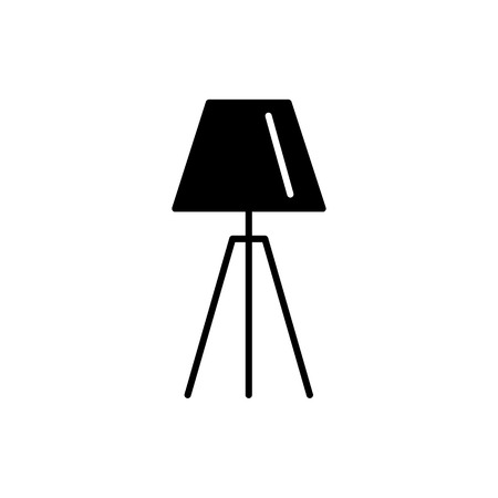 Black & white vector illustration of tripod table lamp. Flat icon of modern desktop light fixture. Home & office illumination. Isolated object on white background Illustration