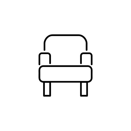 Black & white vector illustration of comfortable simple armchair. Line icon of modern arm chair seat. Upholstery furniture for home & office. Isolated object on white background
