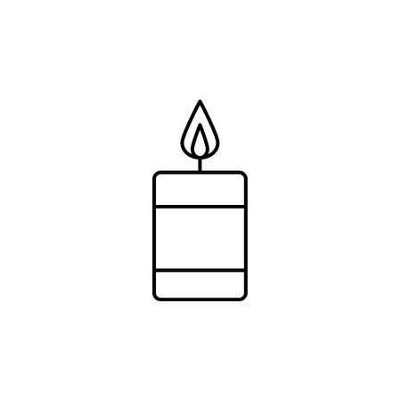 Black and white vector illustration of burning candle.  Line icon of interior design product. Decorative accessory. Aromatherapy element. Isolated object on white background.
