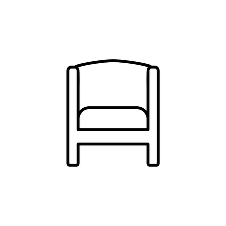 vector illustration of vintage wooden armchair with high back. Line icon of arm chair seat.