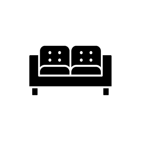 vector illustration of lawson sofa. Flat icon of settee. Иллюстрация