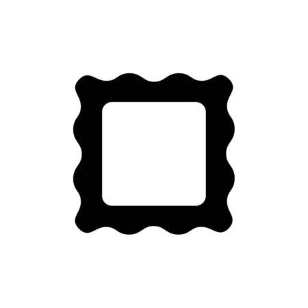 Black & white vector illustration of empty photo frame. Flat icon of black picture border. Home decor element. Isolated object on white background