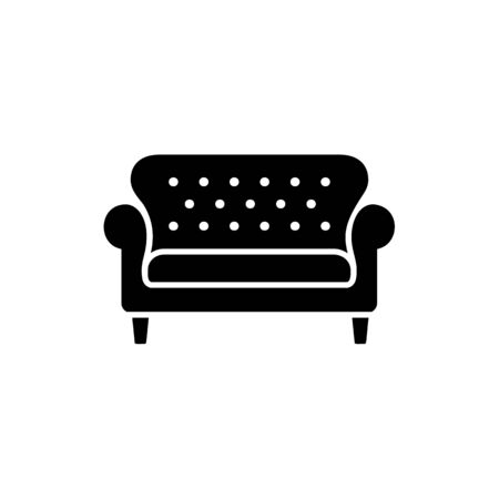Black & white vector illustration of bridgewater sofa. Flat icon of settee. Element of modern home & office furniture. Isolated object on white background
