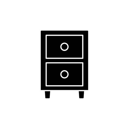 Black & white vector illustration of nightstand with 2 drawers. Flat icon of night or bedside table. Bedroom furniture. Isolated object on white background