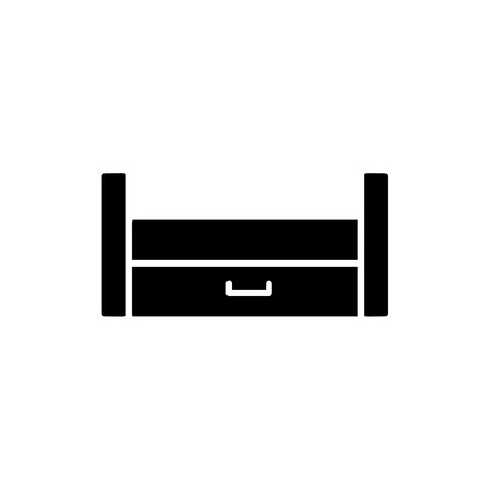 Black & white vector illustration of wooden pull-out sleeper. Flat icon of sofa with bed. Modern home & office furniture. Isolated object on white background