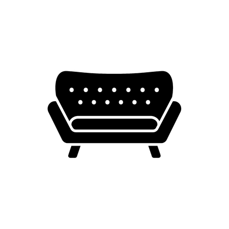 Black & white vector illustration of modern sofa. Flat icon of settee. Classic home & office furniture. Isolated object on white background